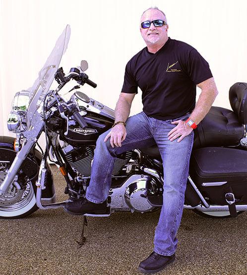 Mark Loren on motorcycle