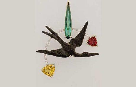 Ancient Roman bronze bird pendant with Brazilian green Tourmaline, Oregon Sunstone trillion, Golden Beryl trillion, pave diamonds, white