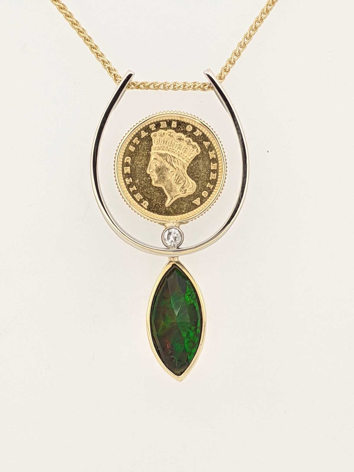 Antique coin, marquise smoked opal, diamond passsed down from clients grandfather