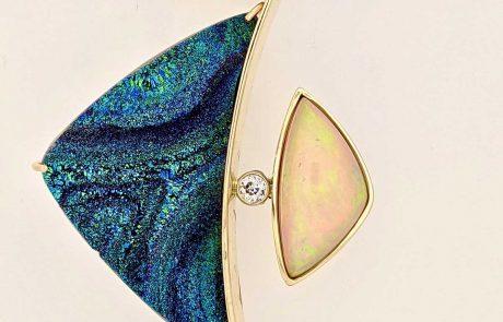Gold, Ethiopian Opal, Druzy Chalcedony and Diamond pendant