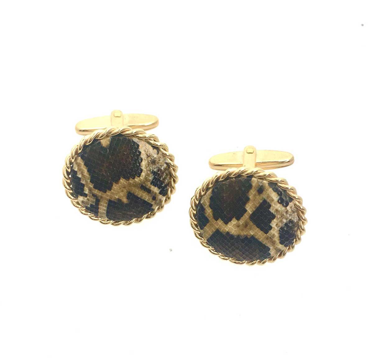 Invasive burmese python skin and yellow gold cufflinks