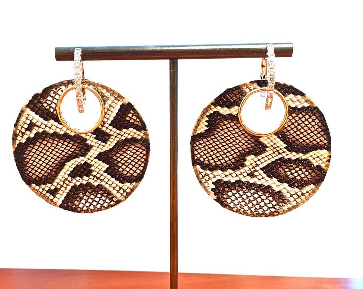 Invasive burmese python skin, yellow gold, white gold and diamond huggie earrings