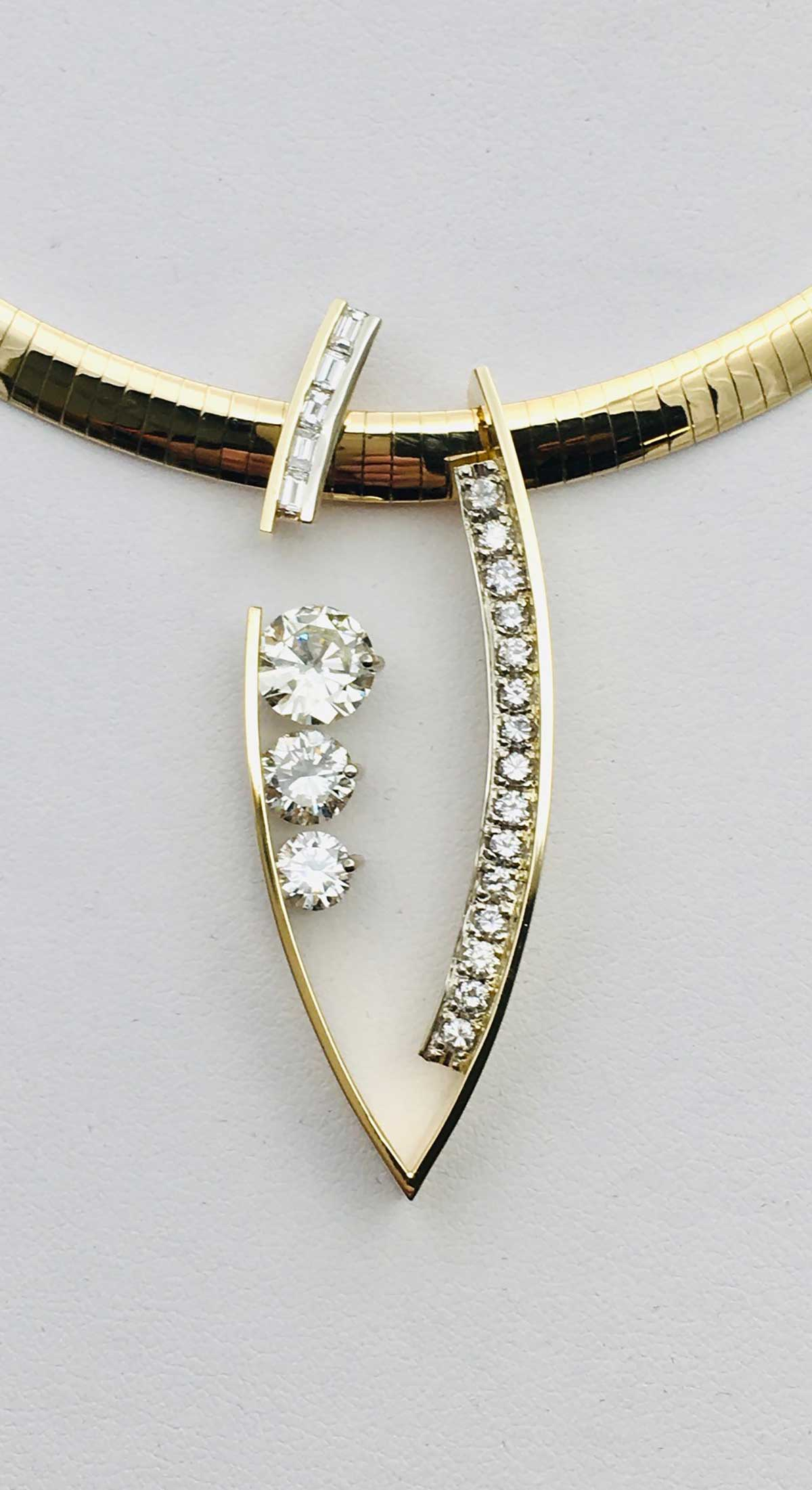Omega pendant with client supplied diamonds in yellow gold