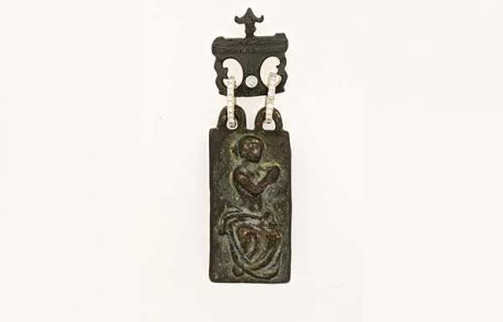 Roman bronze pendant with pave diamonds and yellow gold