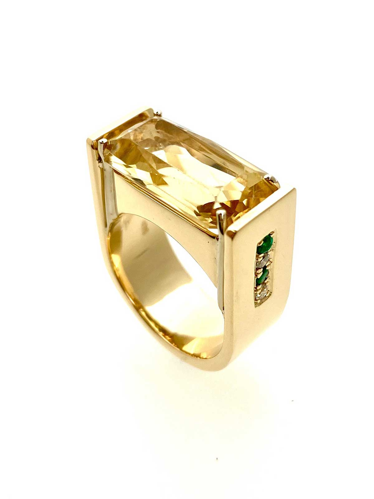 Yellow gold, Heliodoor, diamond and emerald ring