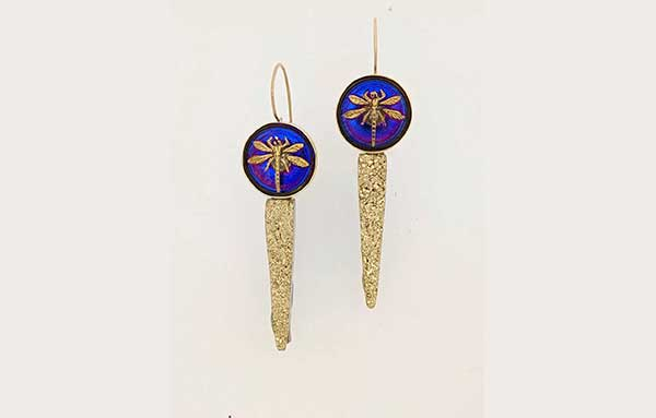 Antique Czech art glass dragonfly button earrings with yellow gold and gold Druzy agate daggers
