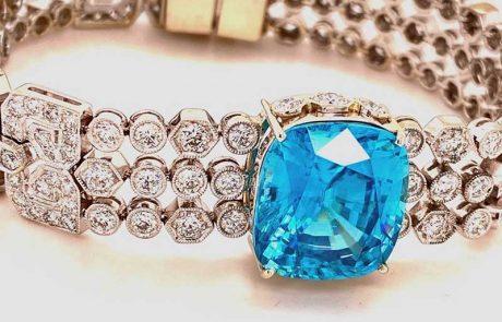 Outrageous 22ct cushion-cut Blue Zircon on a deco-esque diamond bracelet