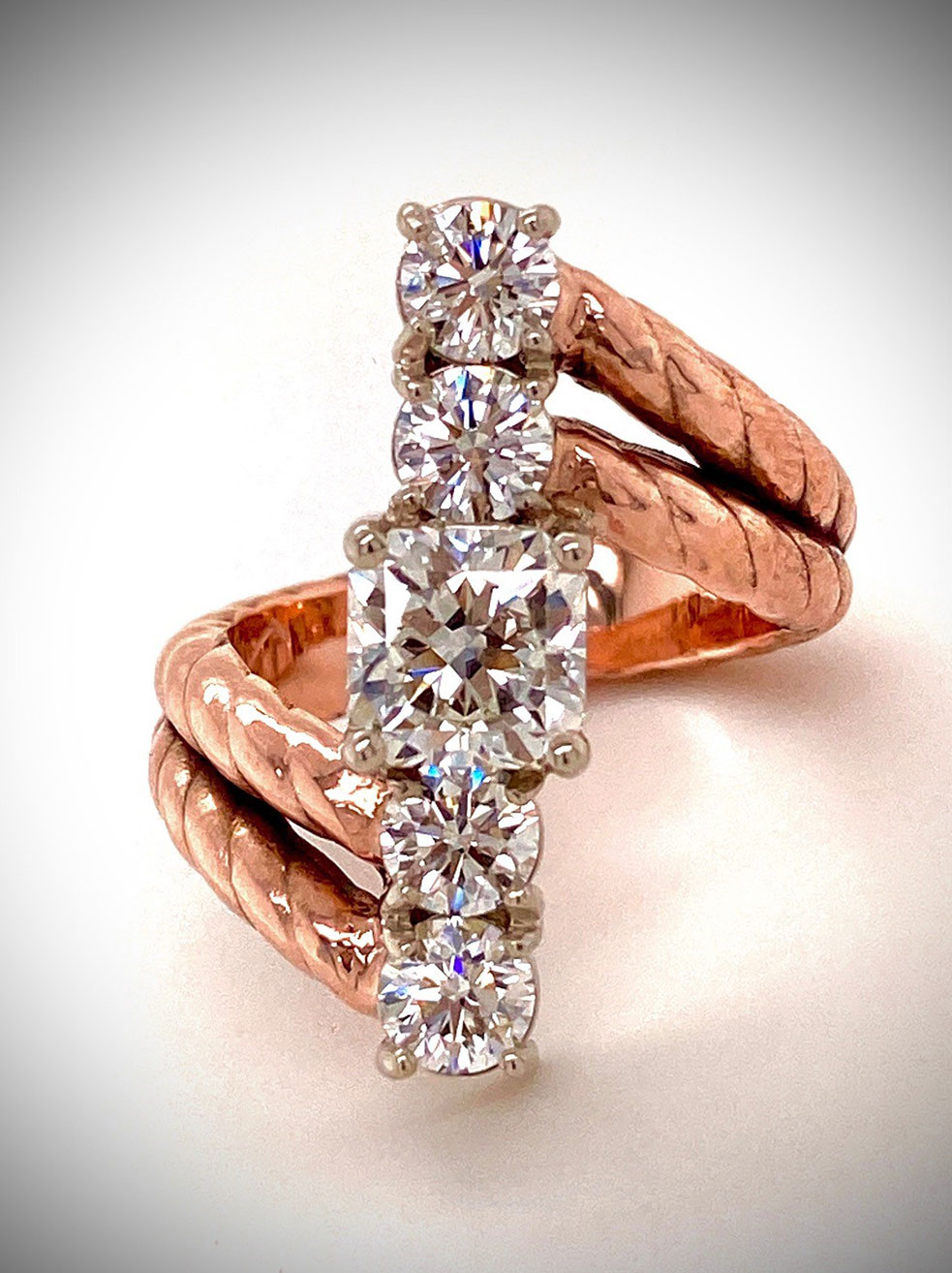 Custom Diamond Ring in 14K Rose and White Gold