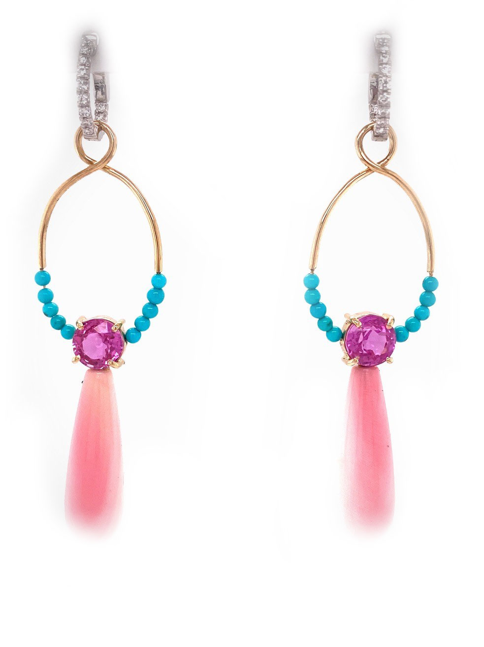 One-of-a-Kind Ear Pendants showcasing 3.45 carats of Pink Sapphires accented with Queen Conch Shell Briollettes and Sleeping Beauty Turquoise beads and handmade in 14K gold
