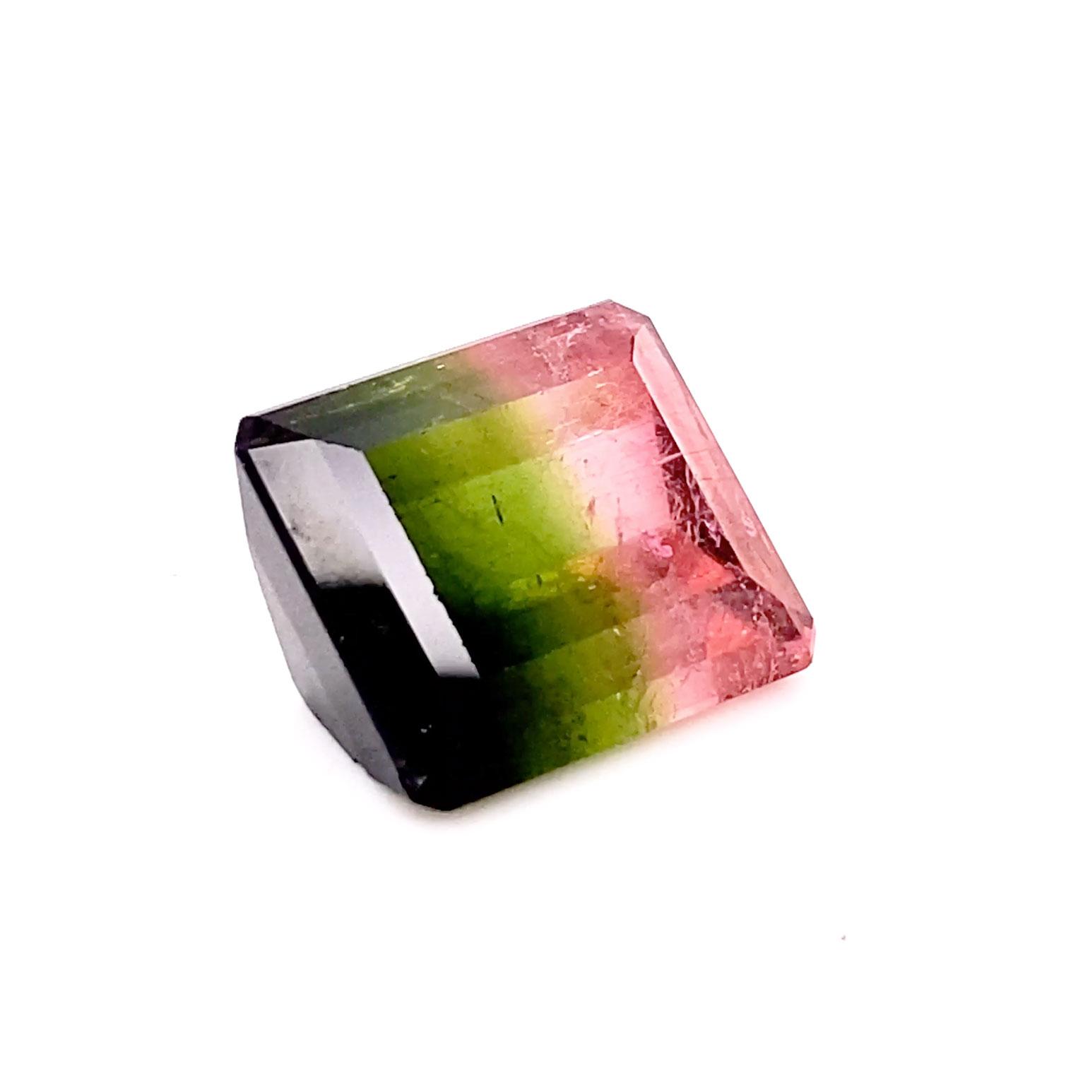 A unique and rare tri-color Brazilian Tourmaline in a square Emerald-cut