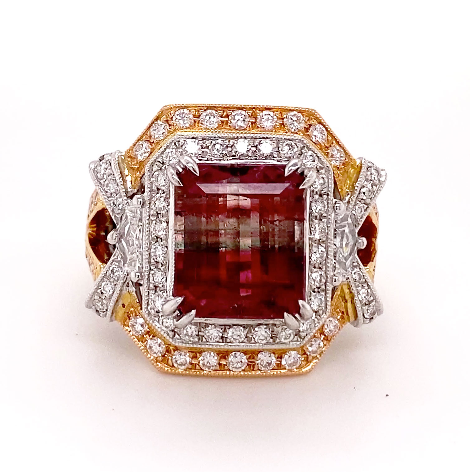 Amazing tricolor gold ring frames a rare multicolor Tourmaline accented with pave-set Diamonds... a showstopper!
