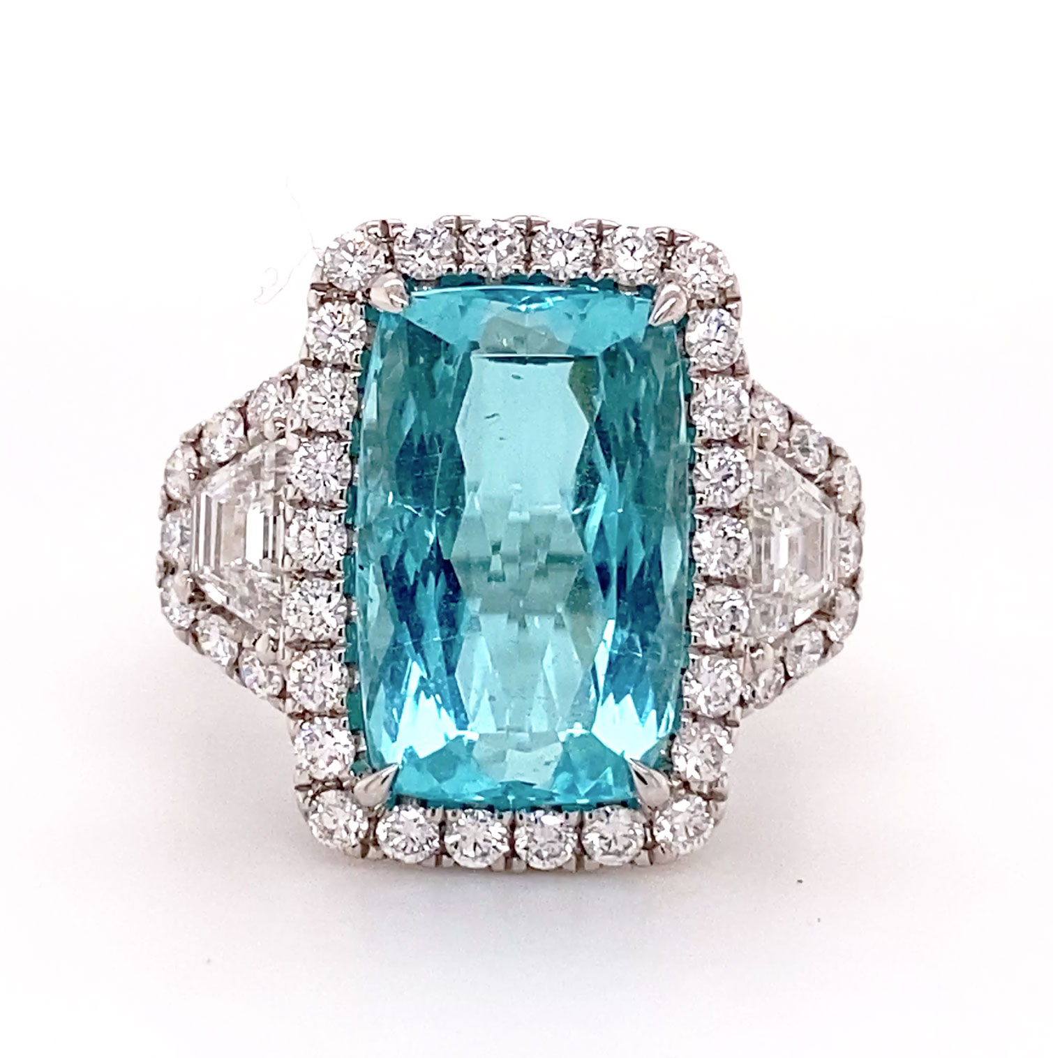 An important Cuprian mint-blue cushion-cut Tourmaline ring accented with multiple levels of pave set Diamonds