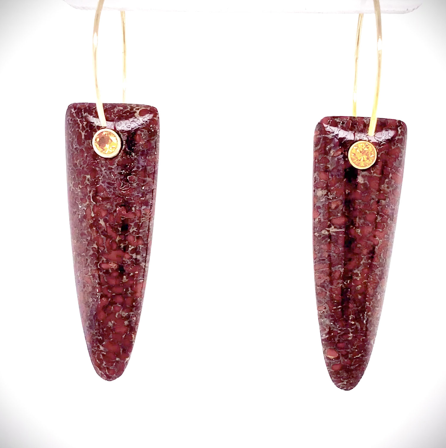 Fossilized Red Dinosaur Bone earrings accented with Golden Sapphire brilliants