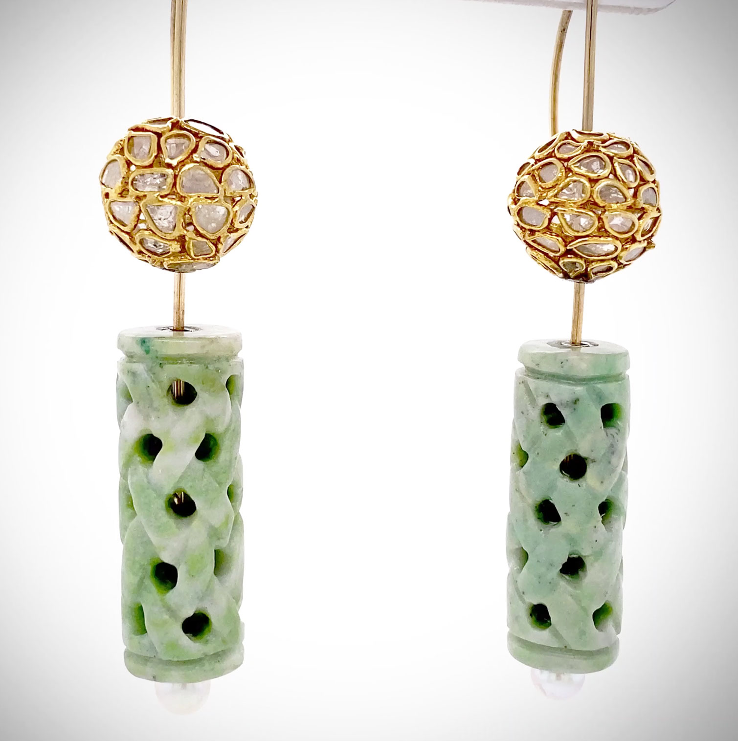 "One-of-a-kind ""Levitating"" earrings in 14k yellow gold with Diamond slice spheres and Antique Dushon carved jade cylinders with Akoya Pearls"