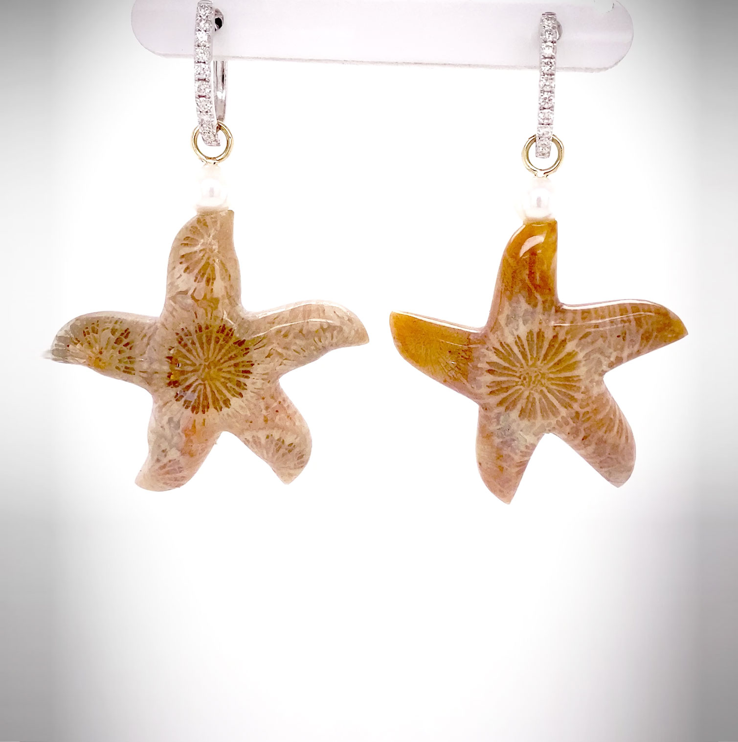 One-of-a-kind ear pendants set with starfish carved from Indonesian Fossilized Coral and accented with Akoya Pearls