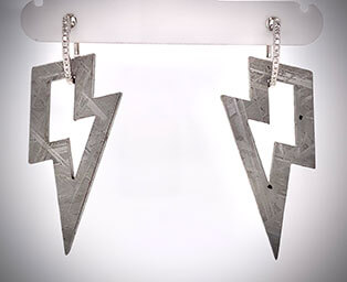 Gibeon African meteorite lightning bolt earring jackets were cut with new laser technology.