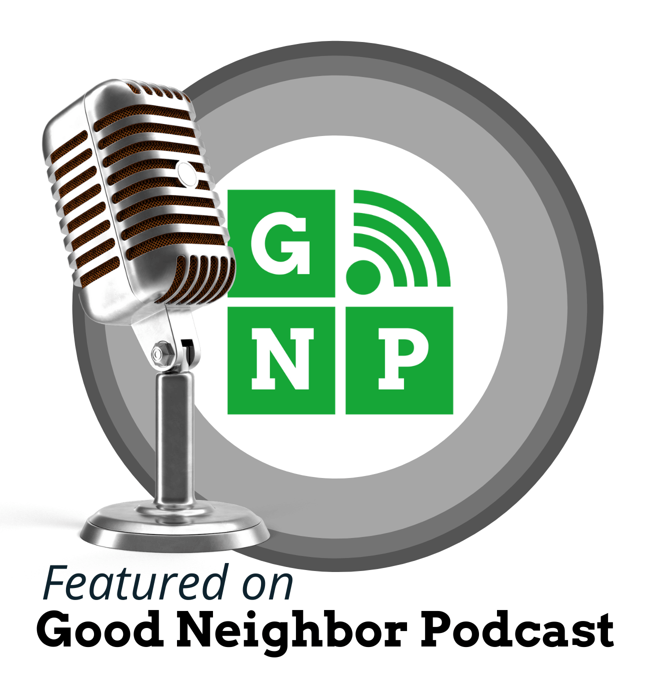 Image of microphone and Good Neighbor Podcast logo for recent talk about jewelry design with Mark Loren